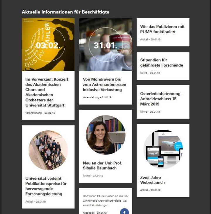 Der Newsstream auf der Startseite des Beschäftigten-Webauftritts informiert über aktuelle Meldungen und Veranstaltungen. (c)