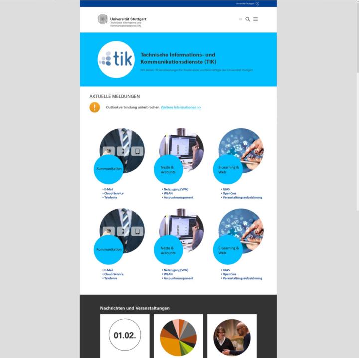 Vision der neuen TIK-Startseite: Betriebsmeldungen und Dienste-Übersicht. (c)