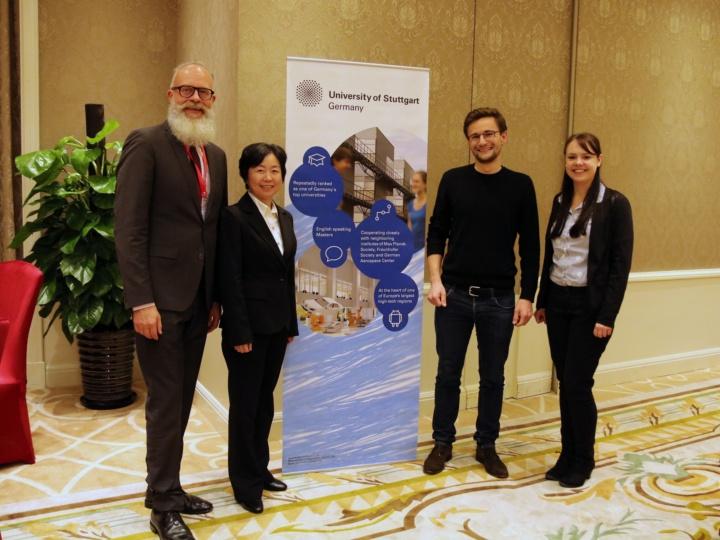 SAIA Dr. Wolfgang Holtkamp, Alumna Dr.-Ing. Yinzhi He, Alumnus Lorenz Egner, Katharina Klein, entstanden in Shanghai, November 2018 (c) FKFS