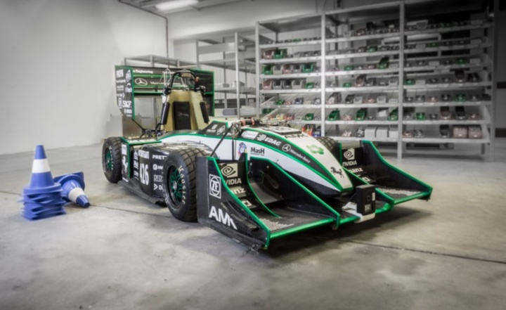 -The driverless vehicle is based on the electric race car from the previous season. (c) GreenTeam