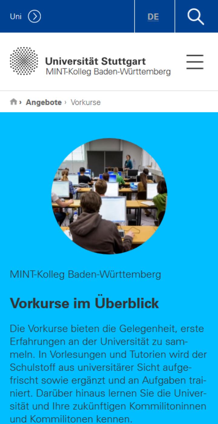 Screenshot der mobilen Version der MINT-Kolleg-Seite für Vorkurse