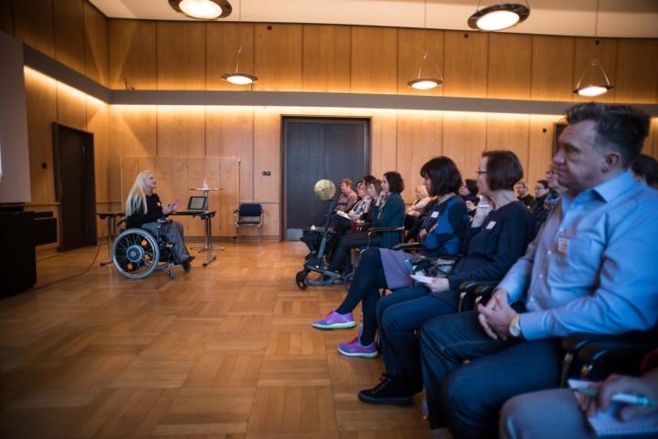 Die Landesbehindertenbeauftragte Stephanie Aeffner hielt einen Impulsvortrag zum Thema Inklusion an der Hochschule. (c) Kovalenko