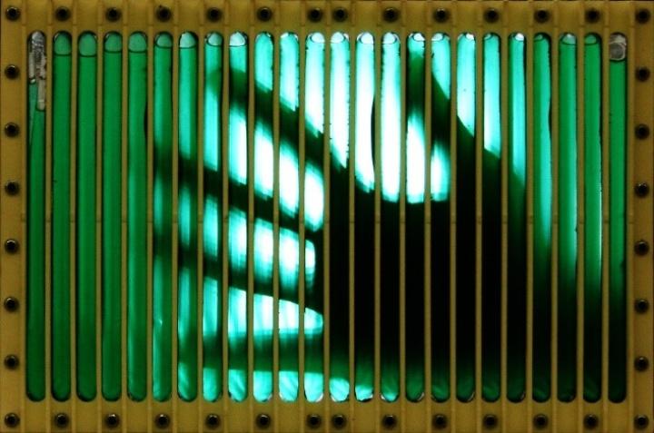 Photobioreaktor, der verwendet wird, um Mikroalgen auf der Raumstation zu kultivieren. (c) IRS