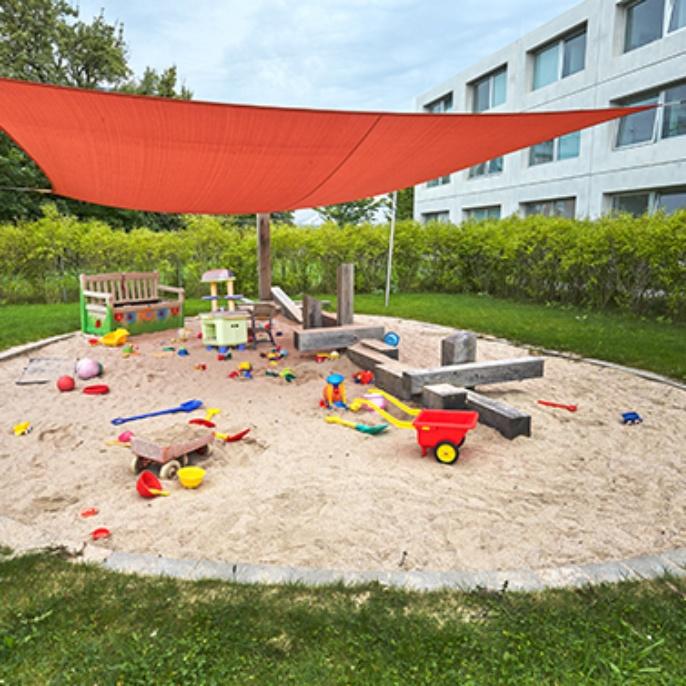 Der Sandkasten des Kinderhauses Pfaffenwald.